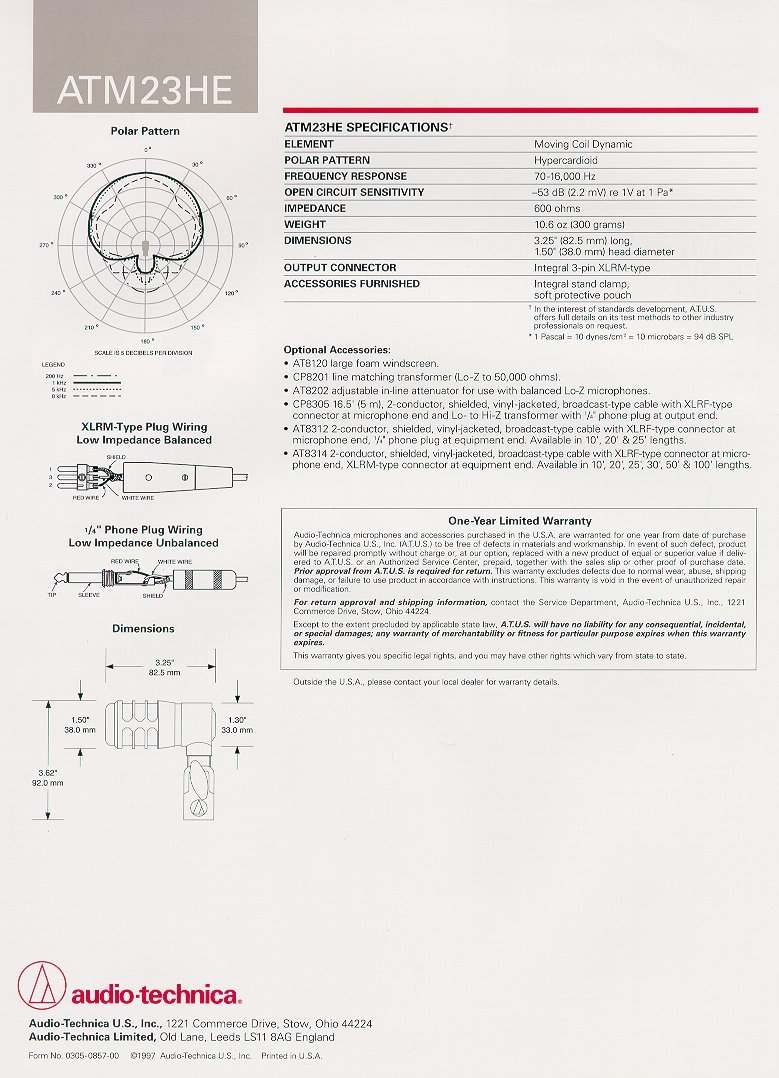 At Catalog Presented By Full Compass Systems Wiring Diagrams Audio Technica Atm23he Brochure Page 2