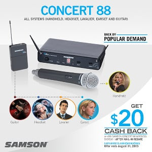 Samson Concert 88 Wireless Systems Mail-In Rebate Offer