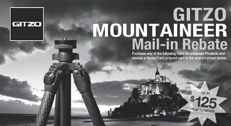 Gitzo Mountaineer Series Tripod Mail-In Rebate Offer