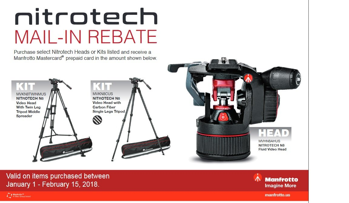 Manfrotto Nitrotech Mail-In Rebate Offer