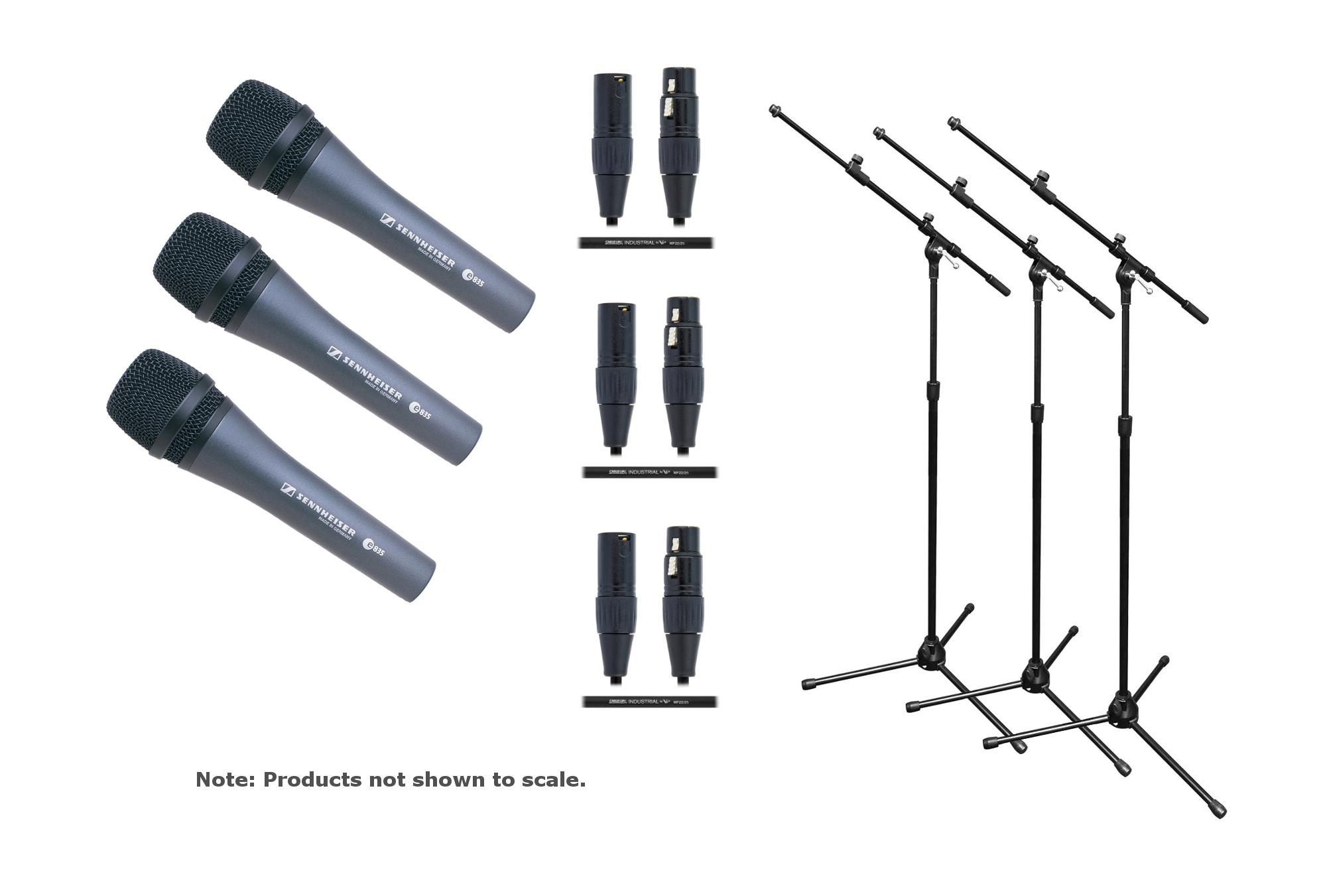 Sennheiser E835-Trio-K Mic / Stand / Cable Exclusive Bundle