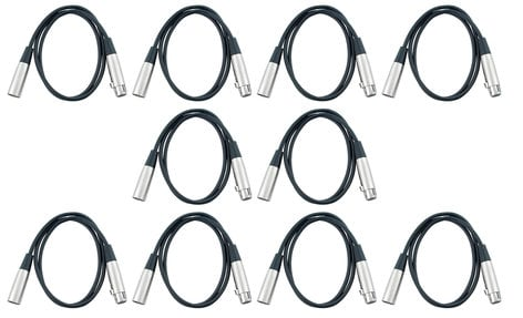 Cable Up 3 Pin 10' DMX 10 Pack Cable Exclusive Bundle
