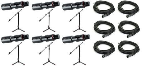 Gator GFW ID Mic Stand With Cables 6 Pack Exclusive Bundle