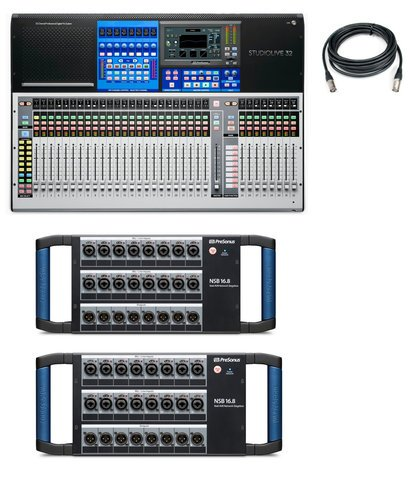 PreSonus STUDIOLIVE-32-AVB2-K 32-Channel Digital Mixer Bundle With Mixer,  StageBoxes And Cable