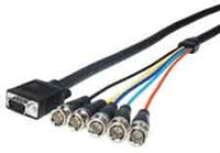 Breakout Cable, VGA HD15 Plug to 5 x BNC Plugs, 75 ft