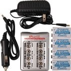 TecNec IP-COMBO  iPower 4 Bay 9V Battery Charger With 4 - 9v Lithium Polymer Batteries