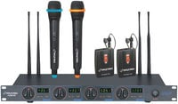 UHF Wireless Microhpne System, with 2 Handheld/ 2 Lavalier Mics