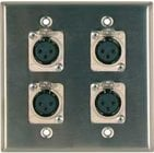 Two-Gang Wall Plate with 4x XLR-F Ports