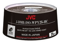 JVC JDMR-ISO-WPY25-HC  25-Pack of ISO Certified White Inkjet Printable Archival DVD-R Discs