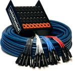 "24 Channel Snake with 24 XLR Inputs and (8) 1/4"" TRS Returns, 50ft, Fan to Box"