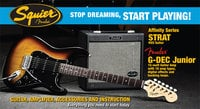 Fender Squier Affinity HSS Strat® Pack with G-DEC® Junior Amp, Brown Sunburst, 030-1622-032