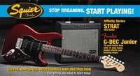 Fender Squier Affinity HSS Strat® Pack with G-DEC® Junior Amp, Candy Apple Red, 030-1622-009