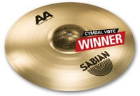 "Sabian 2160772 16"" AA Raw Bell Crash Cymbal in Natural Finish"