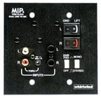 "Whirlwind MIP4B Media Input Wallplate with 1/4"" TS, 1/8"" mini, and RCA Inputs with Black Finish"