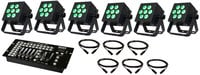 Blizzard Lighting HotBox 5 Package 6x Hotbox 5 RGBAW Fixtures with FREE Kontrol 5 Controller and 6x 25 ft DMX Cables