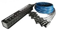 Whirlwind MS12-M-NR-25-BLACK 25 ft. 12-Channel Fan-to-Box XLR Snake with No Returns, Black Jacket
