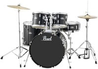 Pearl Drums RS525SC/C31 5-Piece Roadshow Series Drum Set in Jet Black with Cymbals and Hardware