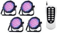 4x Mega Go Par 64 RGBA LED Par Fixtures with RFC Remote Control