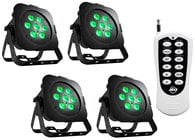 4x Ultra Go Par7X LED Par Fixtures with ADJ RFC Remote