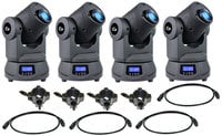 4x Lil' G LED Moving Spot Fixtures with 4x DMX Cables, 4x MultiKlamps, and 1 Carry Bag