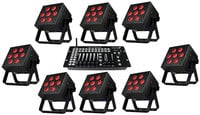 8x SkyBox EXA LED Par Can Fixtures with Case & Kontrol 6 Skywire