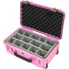 iSeries Waterproof Utility Case with Padded Dividers and Wheels, Pink