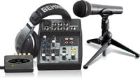 Behringer PODCASTUDIO USB Podcasting Bundle with USB Audio Interface, Mixer, Microphone and Headphones