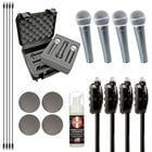 Vocal Microphone Bundle with (4) Shure Beta 58A Microphones and Accessories