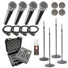 Dynamic Vocal Microphone Bundle with (4) Shure SM58-LC Microphones and Accessories