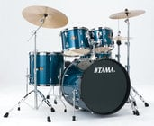 5-Piece Bass Drum Kit with Cymbal, Hairline Blue Finish