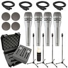 Dynamic Vocal Microphone Bundle with (4) KSM8 Microphones in Nickel and Accessories