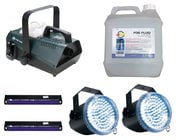 Fog Machine with Fluid, 2 LED Strobes, and 2 Black Lights