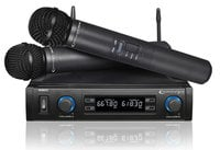 Dual Handheld UHF Wireless Microphone System with Carrying Case, 614-698 MHz