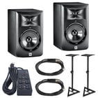 2 Studio Monitors with Monitor Stands and Accessories