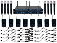 VocoPro UDH-8-ULTRA Eight Channel UHF/DSP Hybrid System with Handheld Microphones, Bodypacks, and Instrument Cables