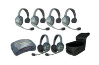 Eartec Co HUB642 6-Person Hub System with 4 Single Headsets, 2 Double Headsets, Batteries & Case