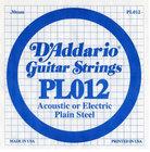 "D`Addario PL012 .012"" Plain Steel Guitar String"