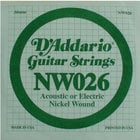 "D`Addario NW026 .026"" Nickel Wound Guitar String"