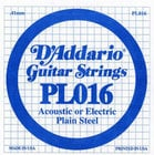 "D`Addario PL016 .016"" Plain Steel Single Guitar String PL016"