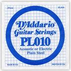 "D`Addario PL010 .010"" Plain Steel Guitar String"