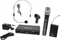 Galaxy Audio EDXR/HHBPS EDXR Receiver,  HH38 Hand Held Transmitter, MBP38 Body Back Transmitter, and HS13-UBK Headset Microphone