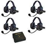 Eartec Co ETXC-4  4- Person Xtreme All in one Headsets and 1 Comstar Com-Center Transceiver