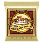 Ernie Ball P02069  Earthwood Folk Nylon, Clear & Gold Ball End, 80/20 Bronze Acoustic Guitar Strings