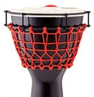 "Pearl Drums PJW-140R533 14""Thai Oak Djembe in Gloss Black with Red Ropes"