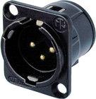 Neutrik NC3MD-V-B  3-Pin Male XLR Panel Mount Receptacle, Black, Gold Contacts