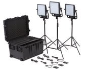 Litepanels 935-3202 Astra Traveler Trio Kit Three 6X Bi-Color LEDs with V Mount Battery Brackets in Kit