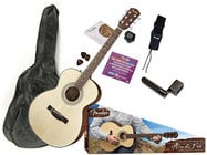 Fender FA-125S Folk Pack Folk-Sized Acoustic Guitar, Natural Finish FA-125S-PACK