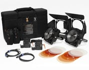 F8-200 Daylight Dual Head ENG Kit Two 200W Daylight LED Fresnels with Case and Gold Mount Adapters
