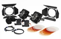 F8-200 Daylight Dual Head ENG Kit Two 200W Daylight LED Fresnels with Gold Mount Adapters