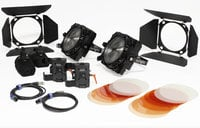 F8-200 Daylight Dual Head ENG Kit Two 200W Daylight LED Fresnels with V-Mount Adapters